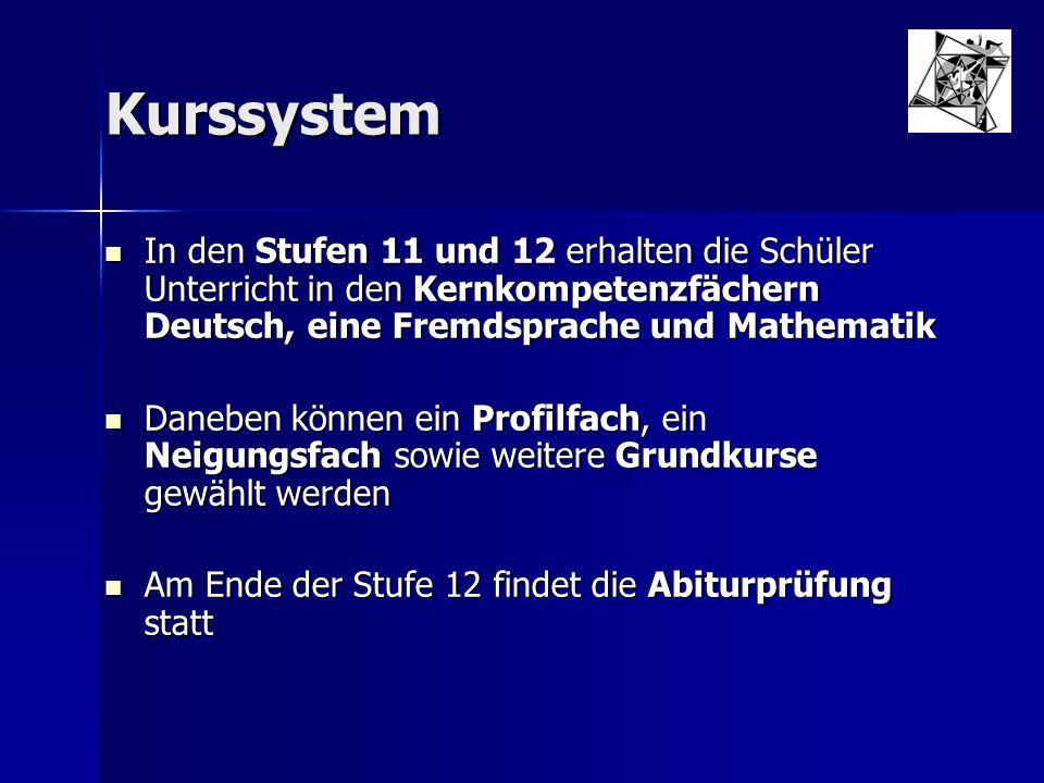Kurssystem In den Stufen 11 und 12 erhalten die Schüler Unterricht in den Kernkompetenzfächern Deutsch, eine Fremdsprache und Mathematik.