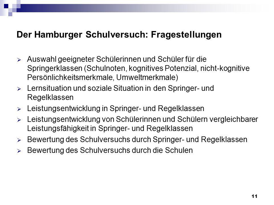 Der Hamburger Schulversuch: Fragestellungen