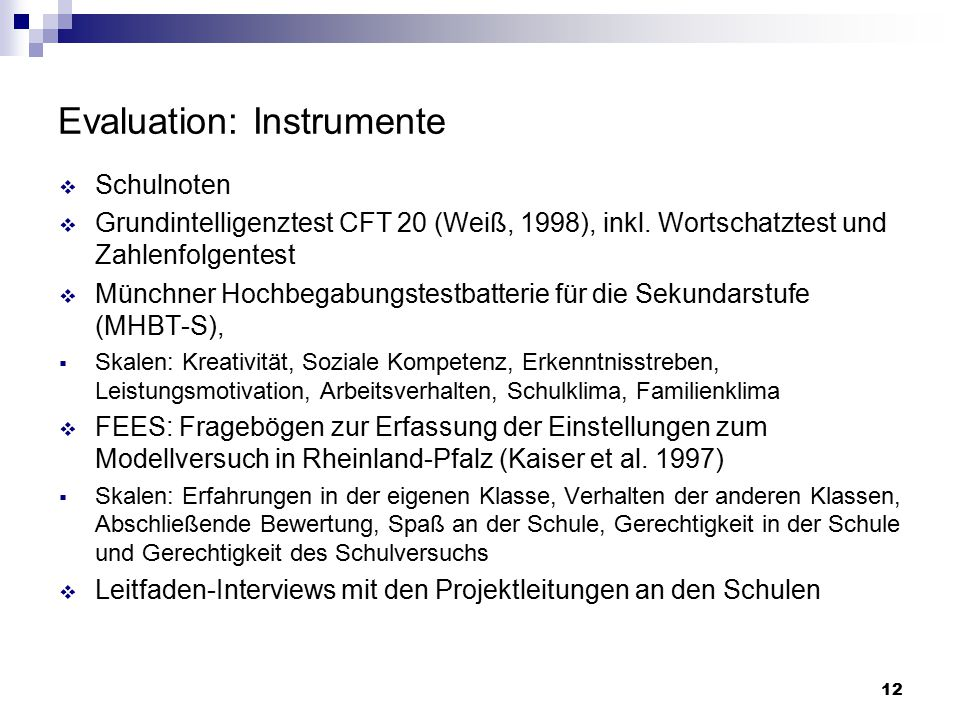 Evaluation: Instrumente