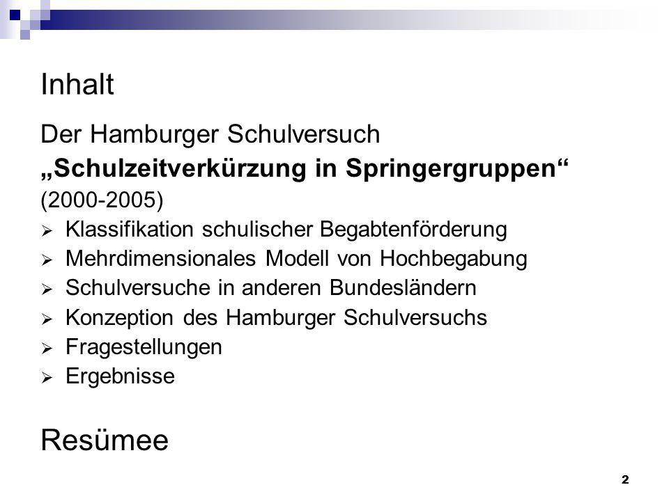 Inhalt Resümee Der Hamburger Schulversuch