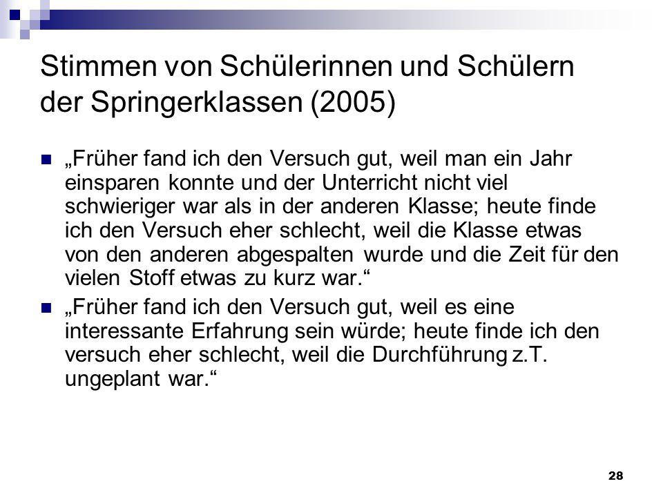 Stimmen von Schülerinnen und Schülern der Springerklassen (2005)