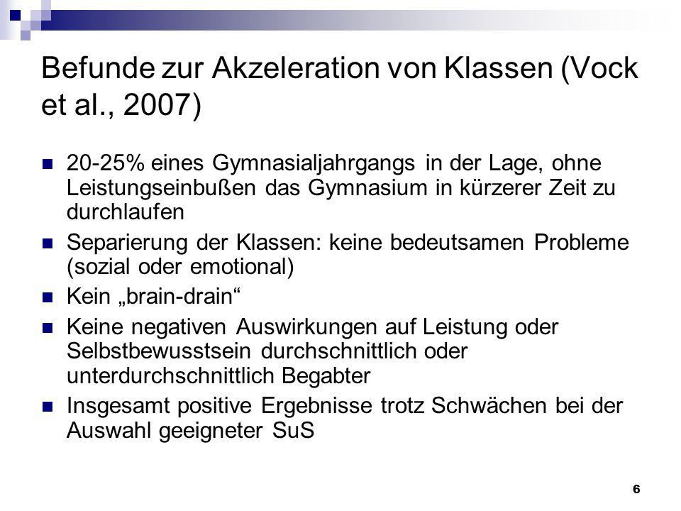 Befunde zur Akzeleration von Klassen (Vock et al., 2007)