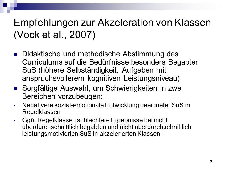 Empfehlungen zur Akzeleration von Klassen (Vock et al., 2007)