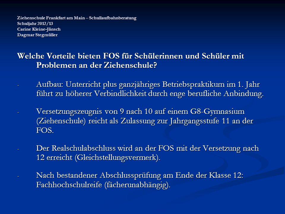 Ziehenschule Frankfurt am Main – Schullaufbahnberatung Schuljahr 2012/13 Carine Kleine-Jänsch Dagmar Stegmüller