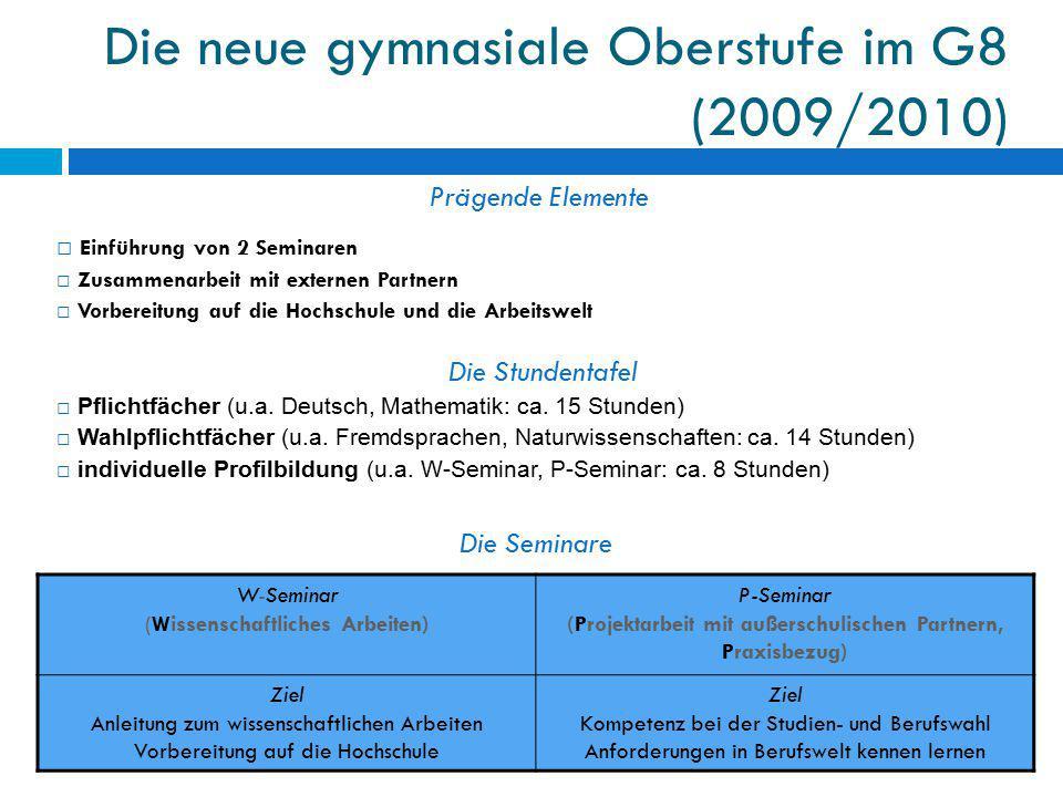 Die neue gymnasiale Oberstufe im G8 (2009/2010)