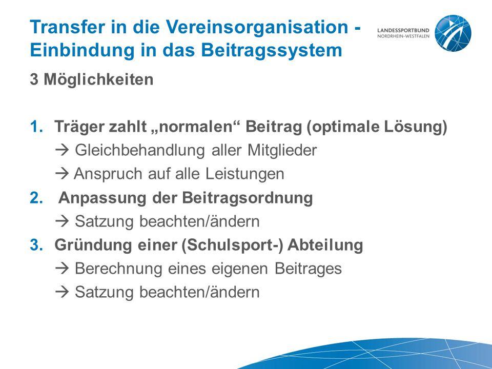 Transfer in die Vereinsorganisation - Einbindung in das Beitragssystem