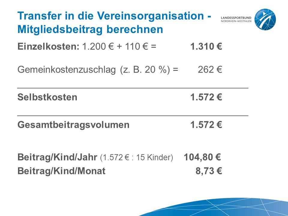 Transfer in die Vereinsorganisation - Mitgliedsbeitrag berechnen