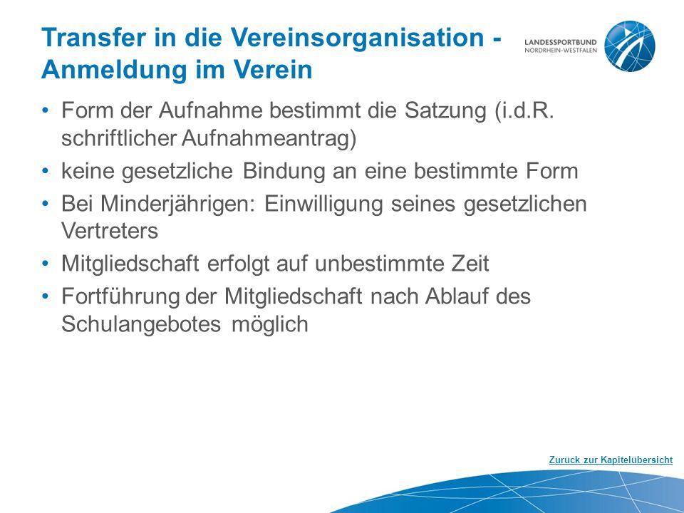 Transfer in die Vereinsorganisation - Anmeldung im Verein