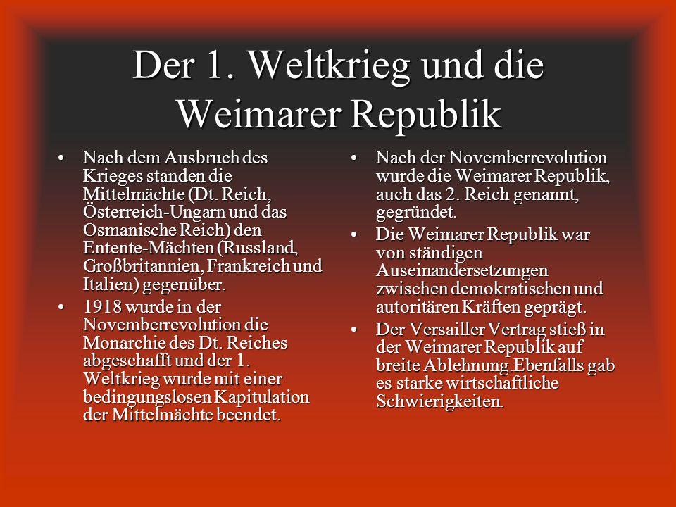 Der 1. Weltkrieg und die Weimarer Republik