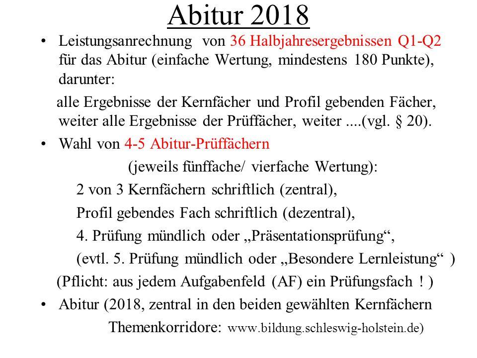 Abitur 2018 Leistungsanrechnung von 36 Halbjahresergebnissen Q1-Q2 für das Abitur (einfache Wertung, mindestens 180 Punkte), darunter: