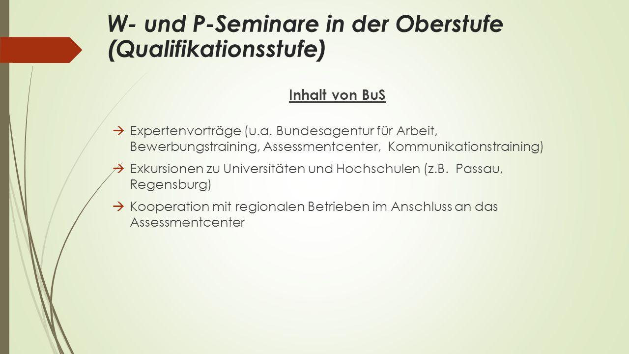 W- und P-Seminare in der Oberstufe (Qualifikationsstufe)