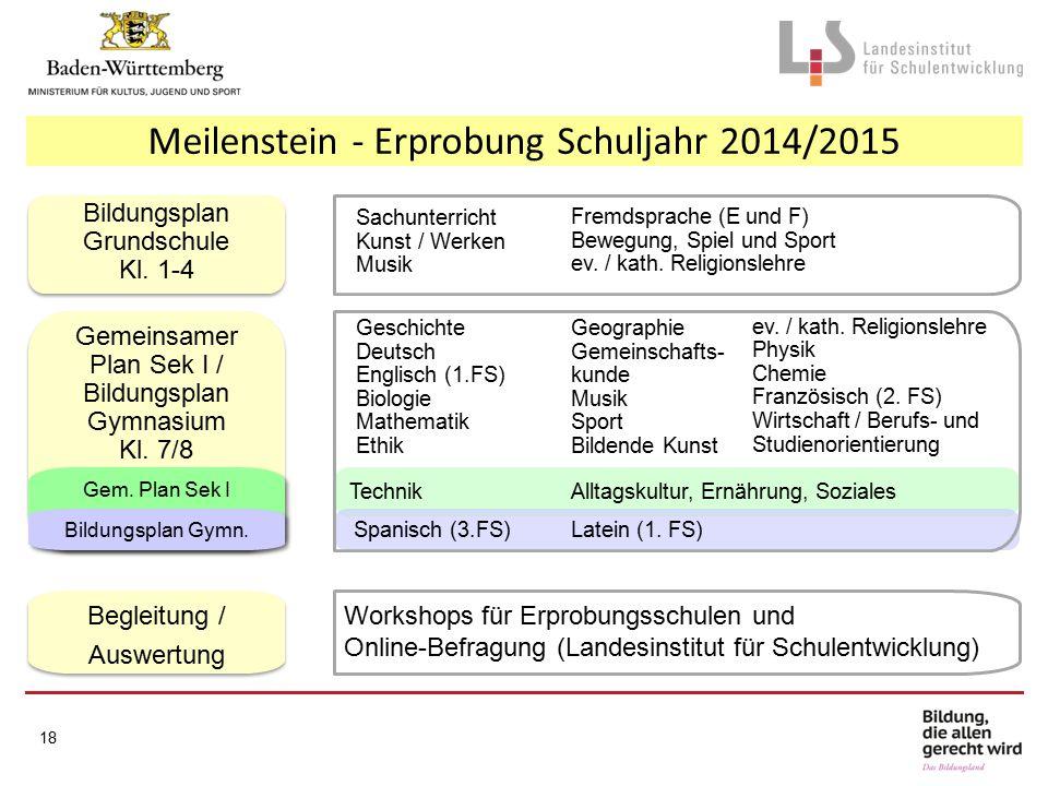 Meilenstein - Erprobung Schuljahr 2014/2015