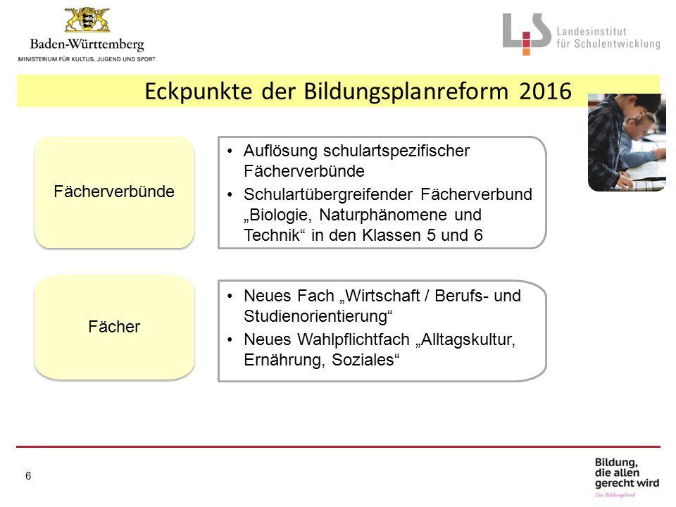 Eckpunkte der Bildungsplanreform 2016