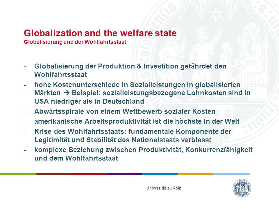 Globalization and the welfare state Globalisierung und der Wohlfahrtsstaat