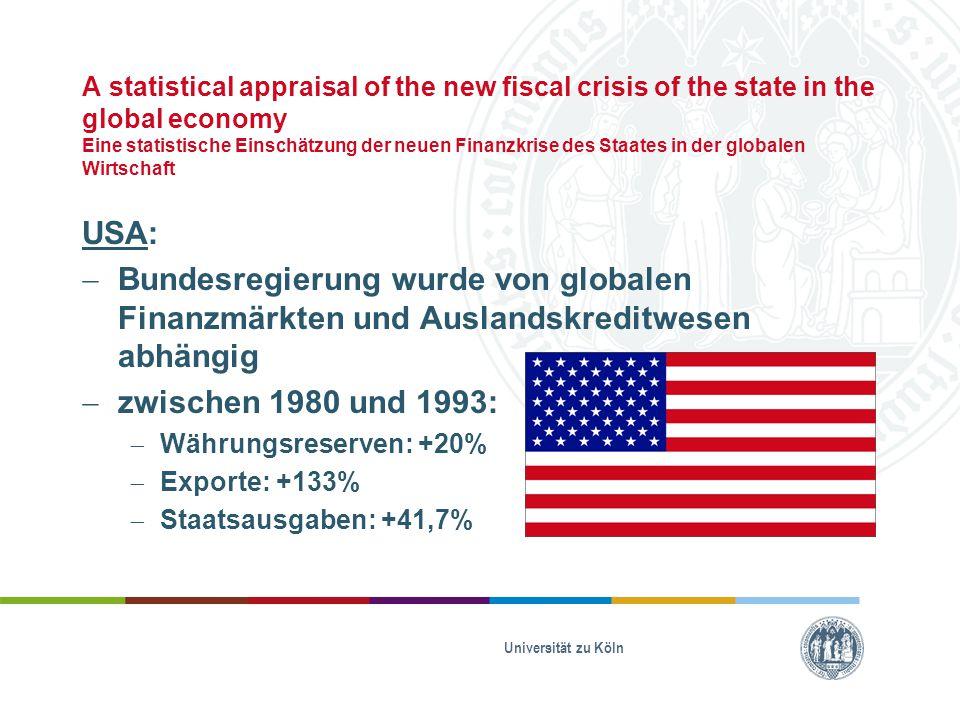 A statistical appraisal of the new fiscal crisis of the state in the global economy Eine statistische Einschätzung der neuen Finanzkrise des Staates in der globalen Wirtschaft