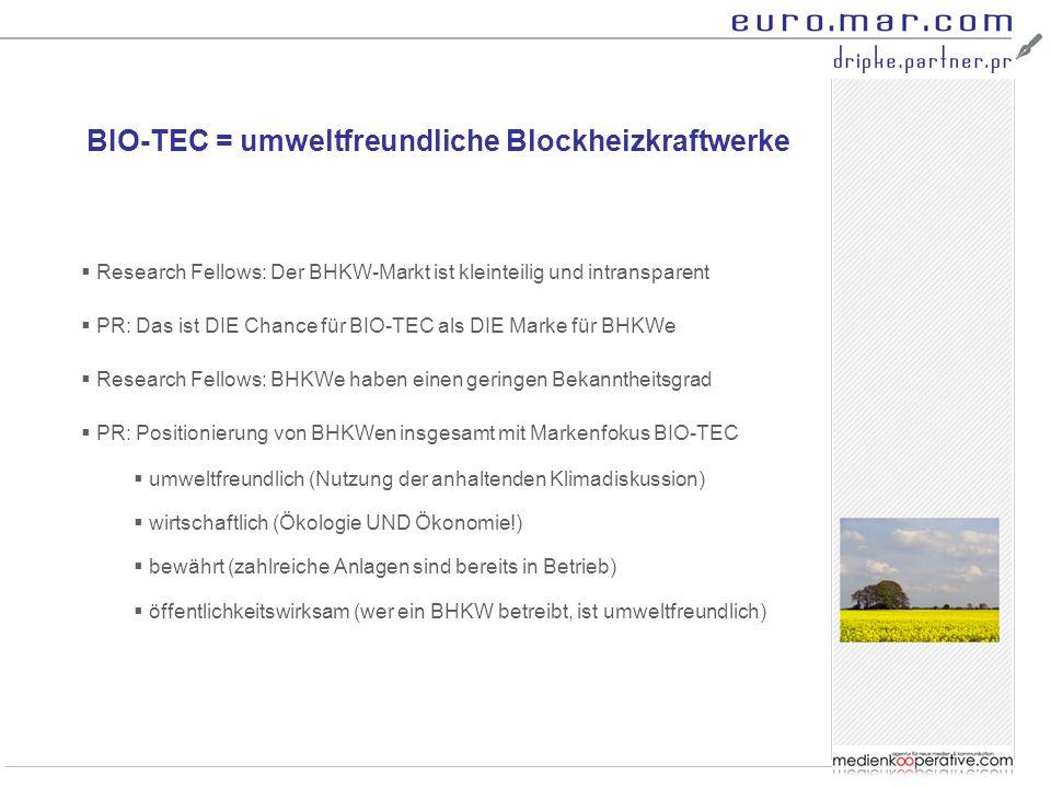 BIO-TEC = umweltfreundliche Blockheizkraftwerke