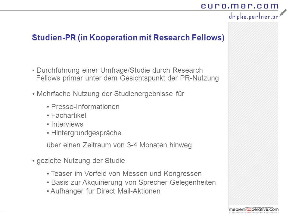 Studien-PR (in Kooperation mit Research Fellows)