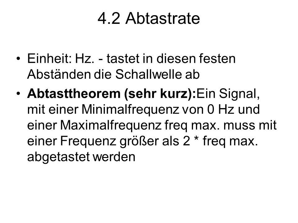 4.2 Abtastrate Einheit: Hz. - tastet in diesen festen Abständen die Schallwelle ab.