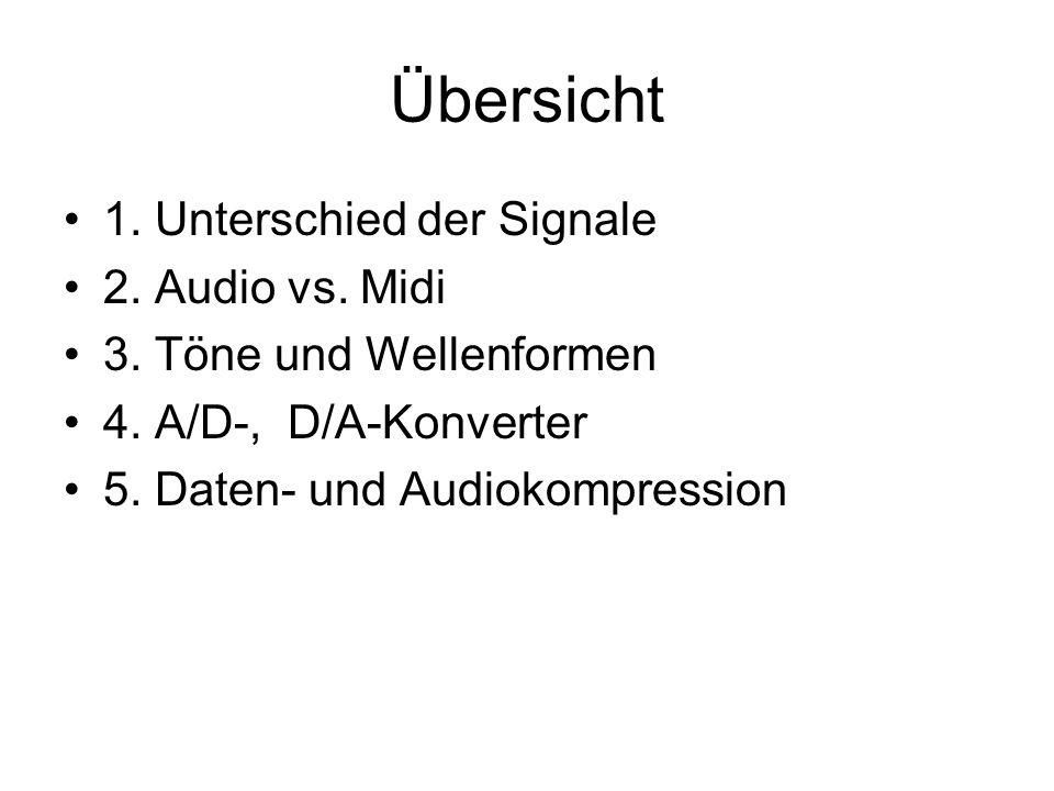 Übersicht 1. Unterschied der Signale 2. Audio vs. Midi