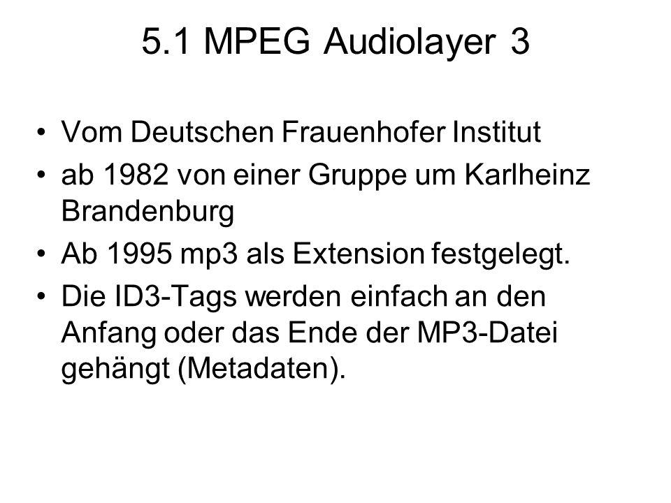 5.1 MPEG Audiolayer 3 Vom Deutschen Frauenhofer Institut