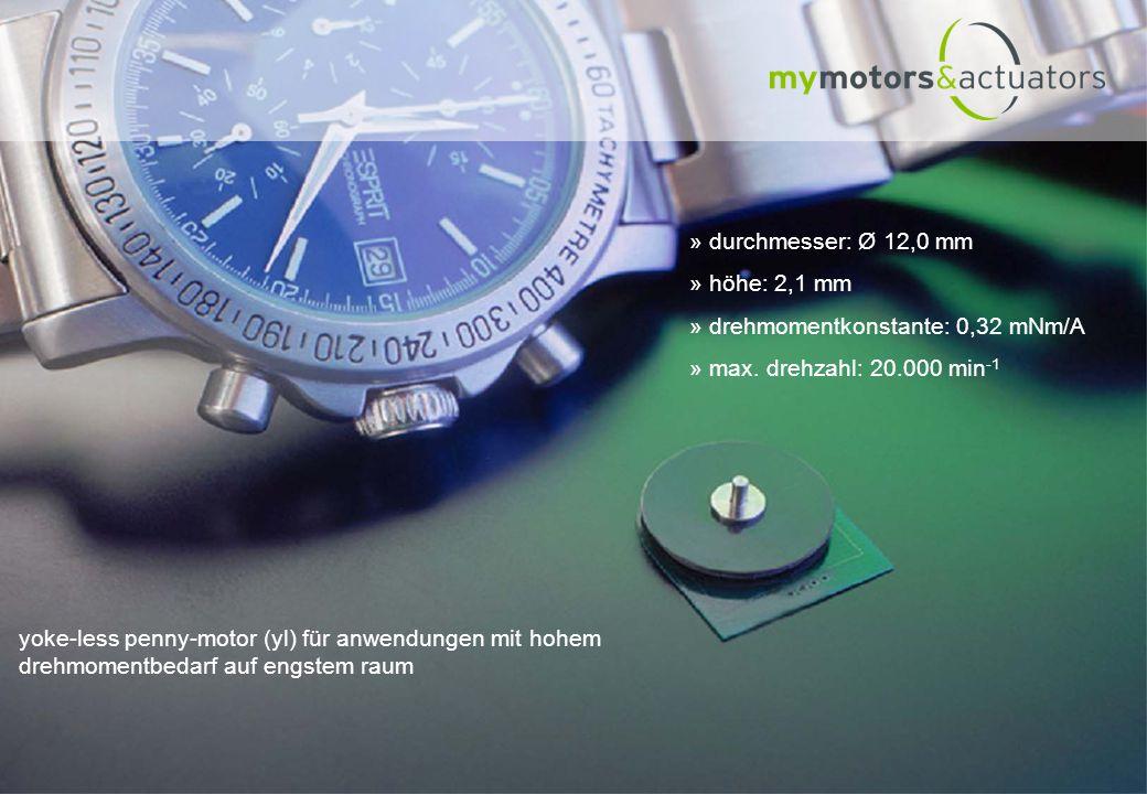 durchmesser: Ø 12,0 mm höhe: 2,1 mm. drehmomentkonstante: 0,32 mNm/A. max. drehzahl: 20.000 min-1.