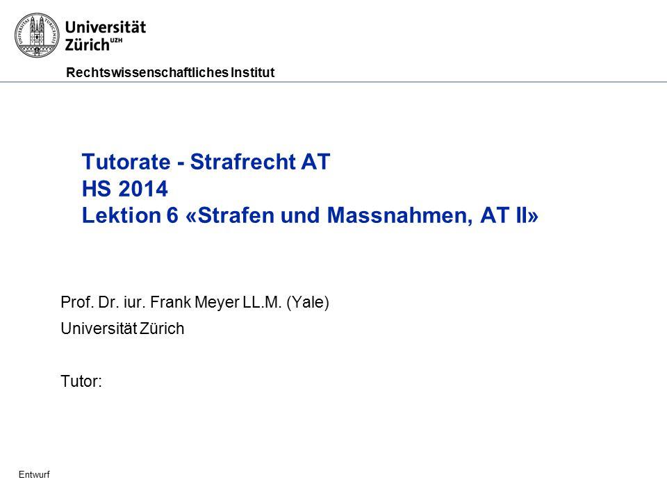 Prof. Dr. iur. Frank Meyer LL.M. (Yale) Universität Zürich Tutor: