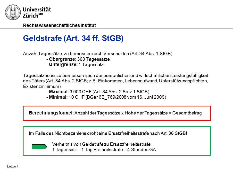 Geldstrafe (Art. 34 ff. StGB)