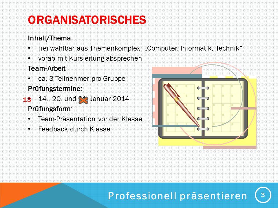 Organisatorisches Professionell präsentieren Inhalt/Thema