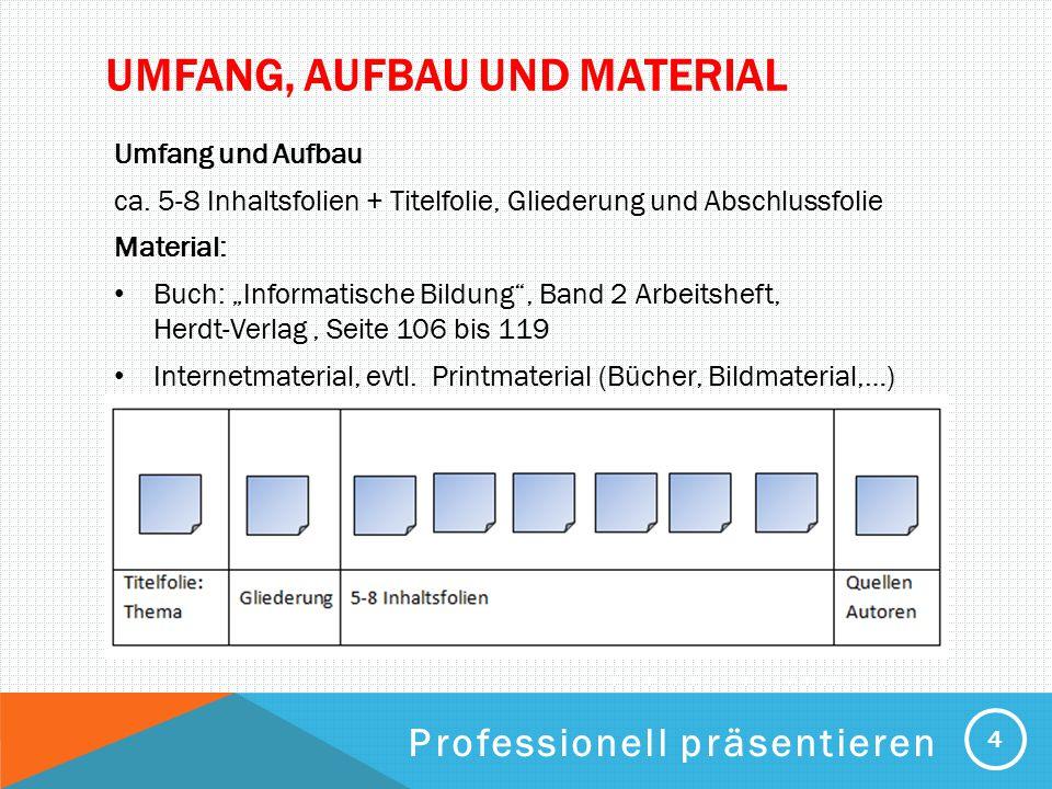 Umfang, Aufbau und Material