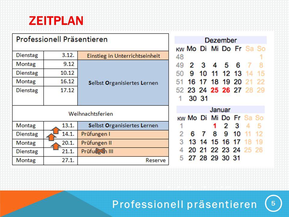 Zeitplan Professionell präsentieren
