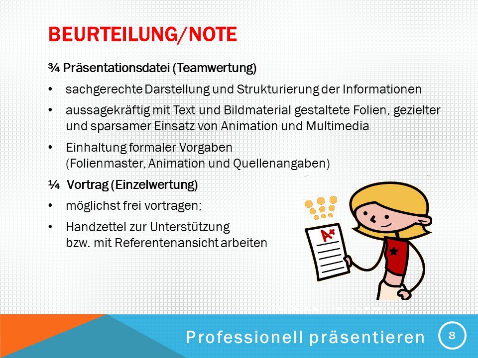 Beurteilung/Note Professionell präsentieren
