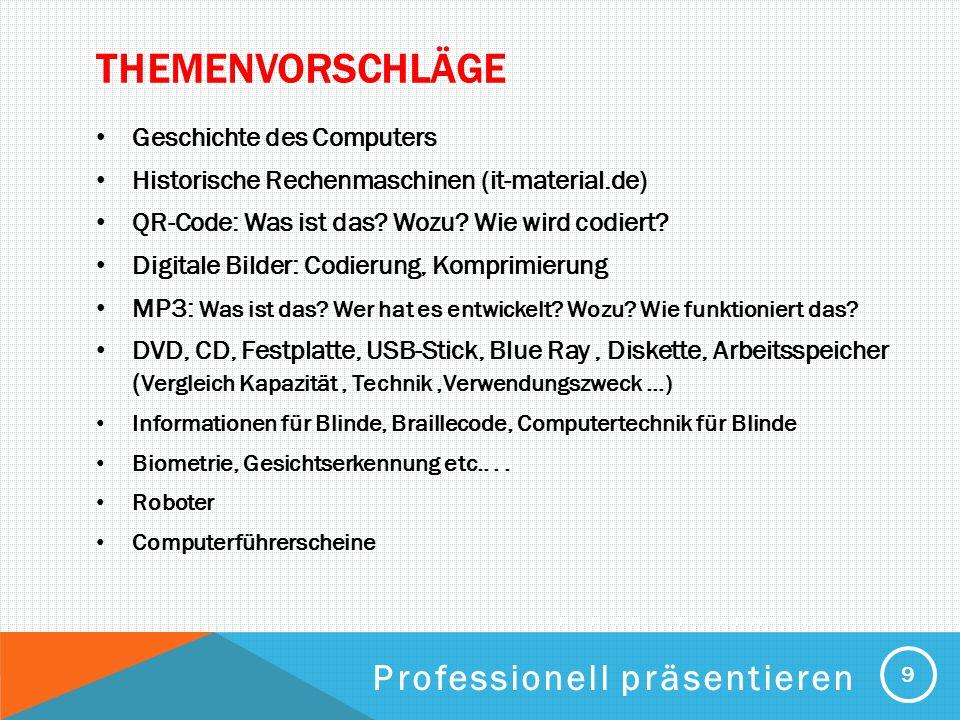 Themenvorschläge Professionell präsentieren Geschichte des Computers