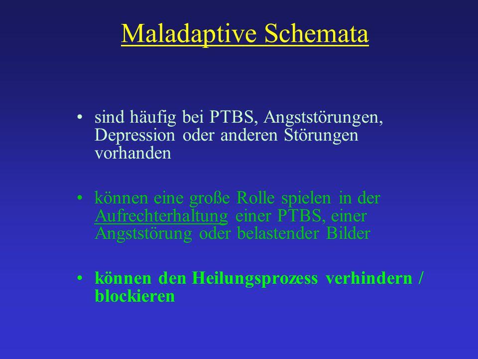 Maladaptive Schemata sind häufig bei PTBS, Angststörungen, Depression oder anderen Störungen vorhanden.