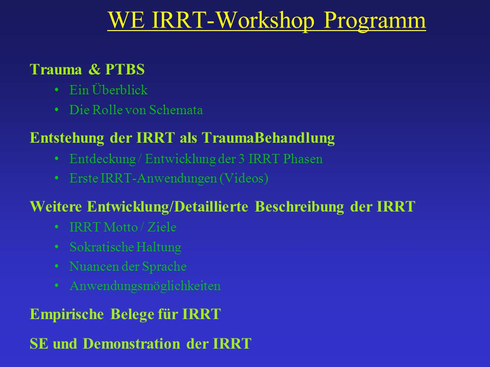 WE IRRT-Workshop Programm