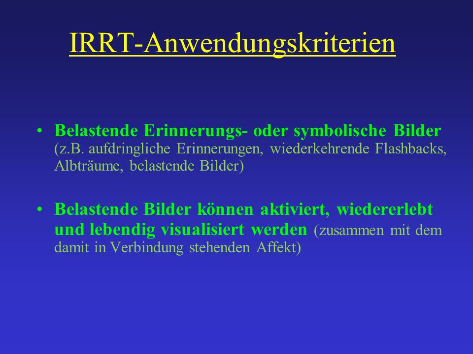 IRRT-Anwendungskriterien