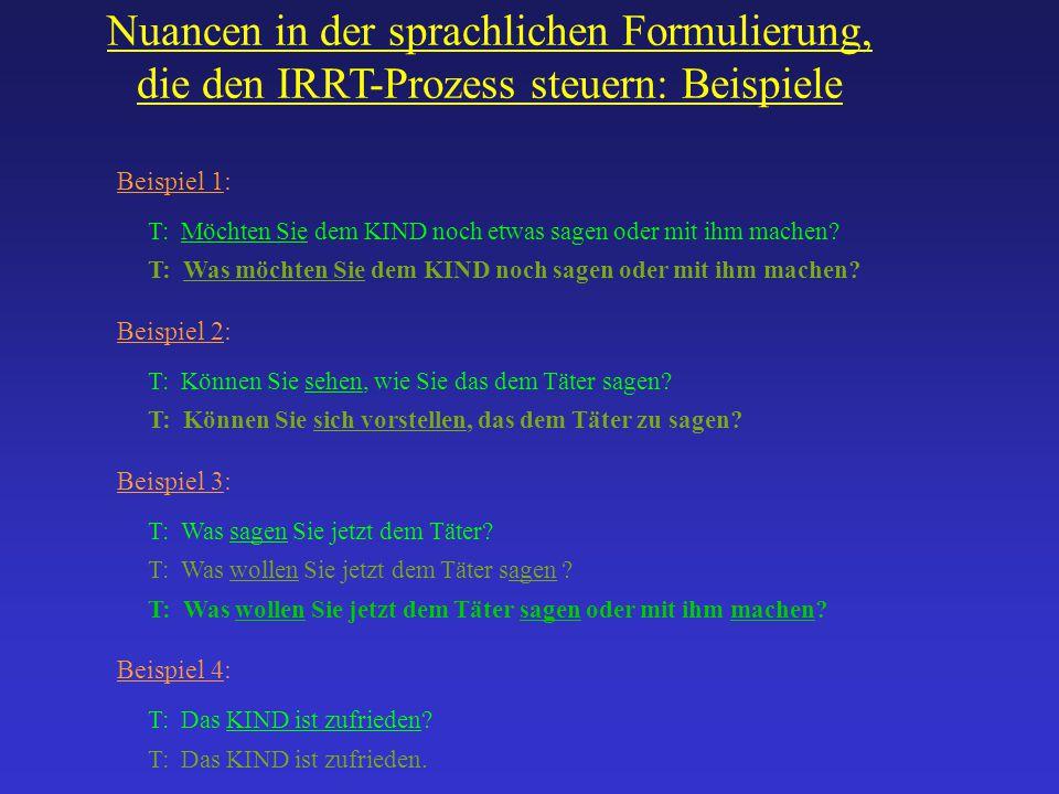 Nuancen in der sprachlichen Formulierung, die den IRRT-Prozess steuern: Beispiele