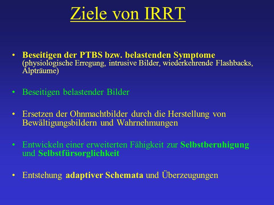 Ziele von IRRT Beseitigen der PTBS bzw. belastenden Symptome (physiologische Erregung, intrusive Bilder, wiederkehrende Flashbacks, Alpträume)