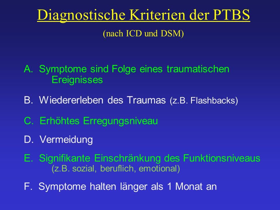 Diagnostische Kriterien der PTBS (nach ICD und DSM)
