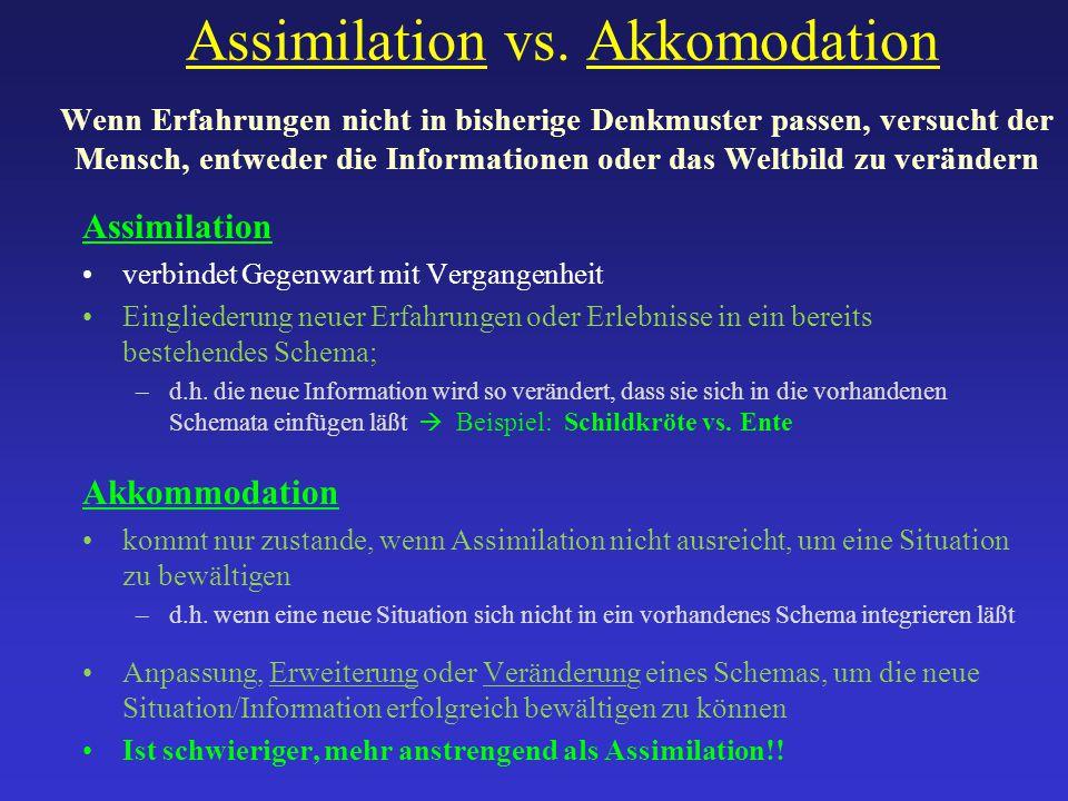 Assimilation vs. Akkomodation Wenn Erfahrungen nicht in bisherige Denkmuster passen, versucht der Mensch, entweder die Informationen oder das Weltbild zu verändern