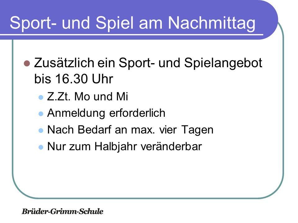 Sport- und Spiel am Nachmittag