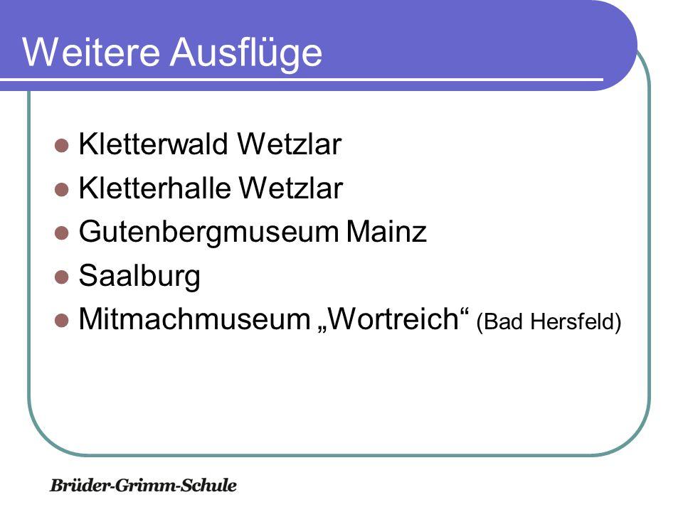 Weitere Ausflüge Kletterwald Wetzlar Kletterhalle Wetzlar