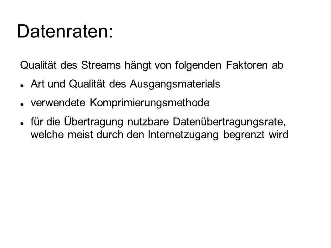 Datenraten: Qualität des Streams hängt von folgenden Faktoren ab