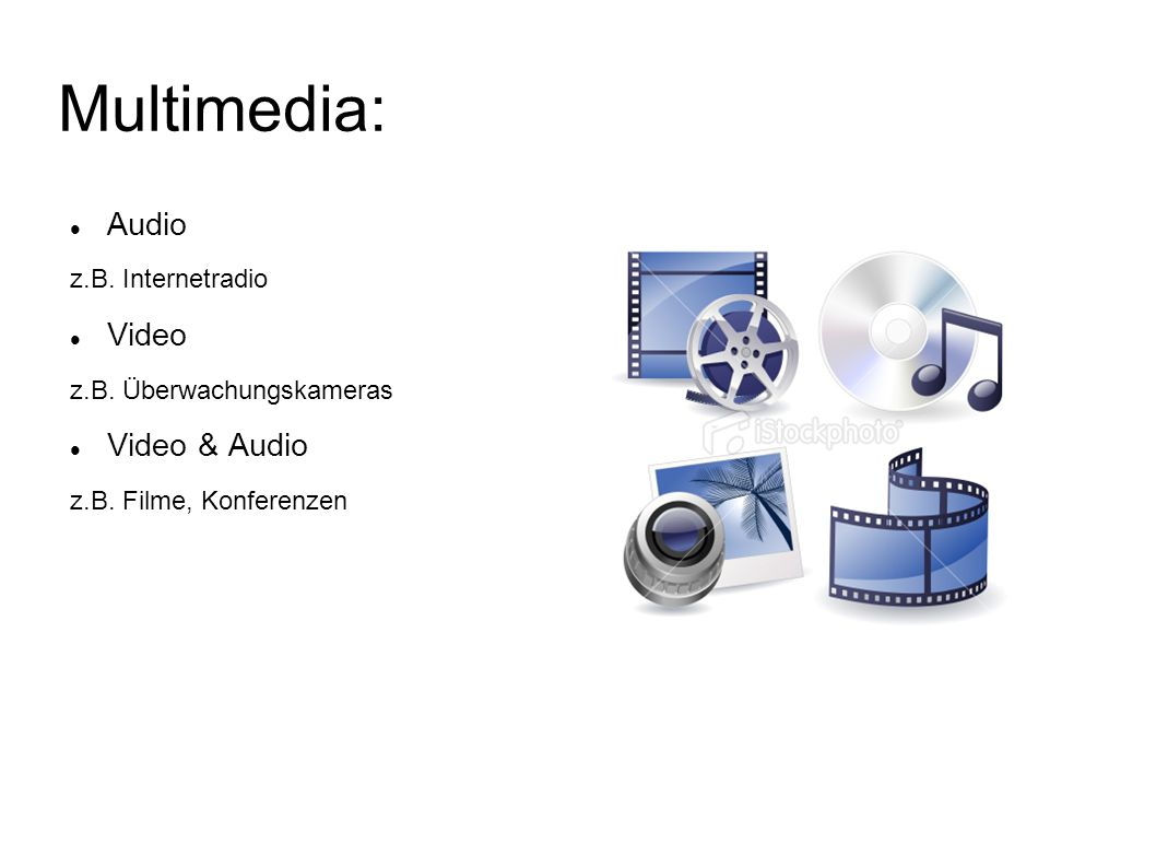 Multimedia: Audio Video Video & Audio z.B. Internetradio