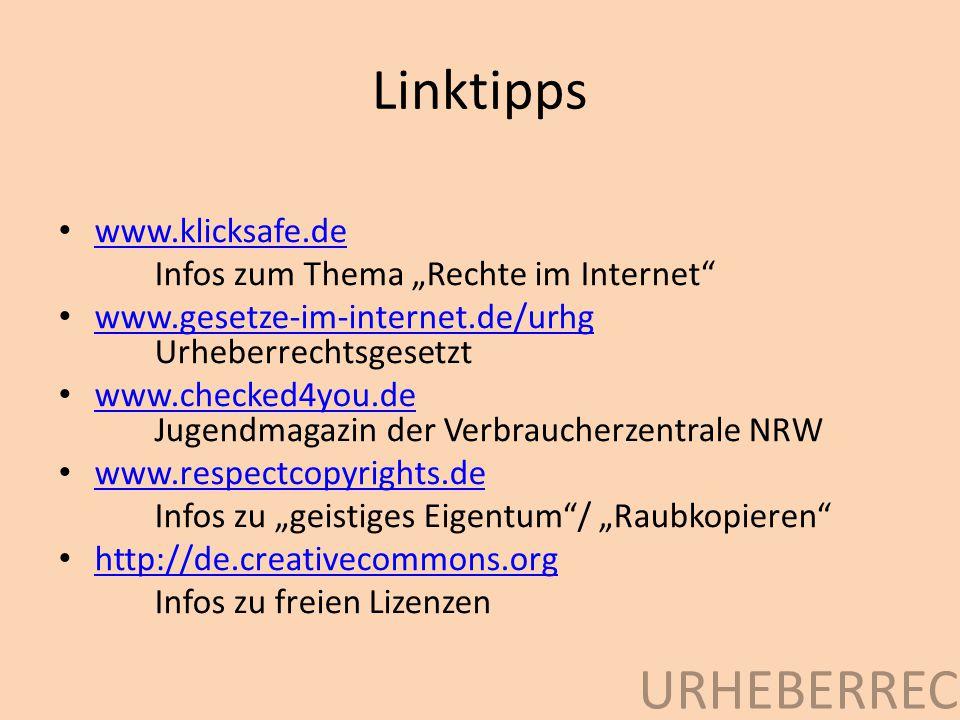Linktipps Urheberrecht www.klicksafe.de