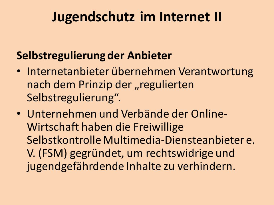 Jugendschutz im Internet II