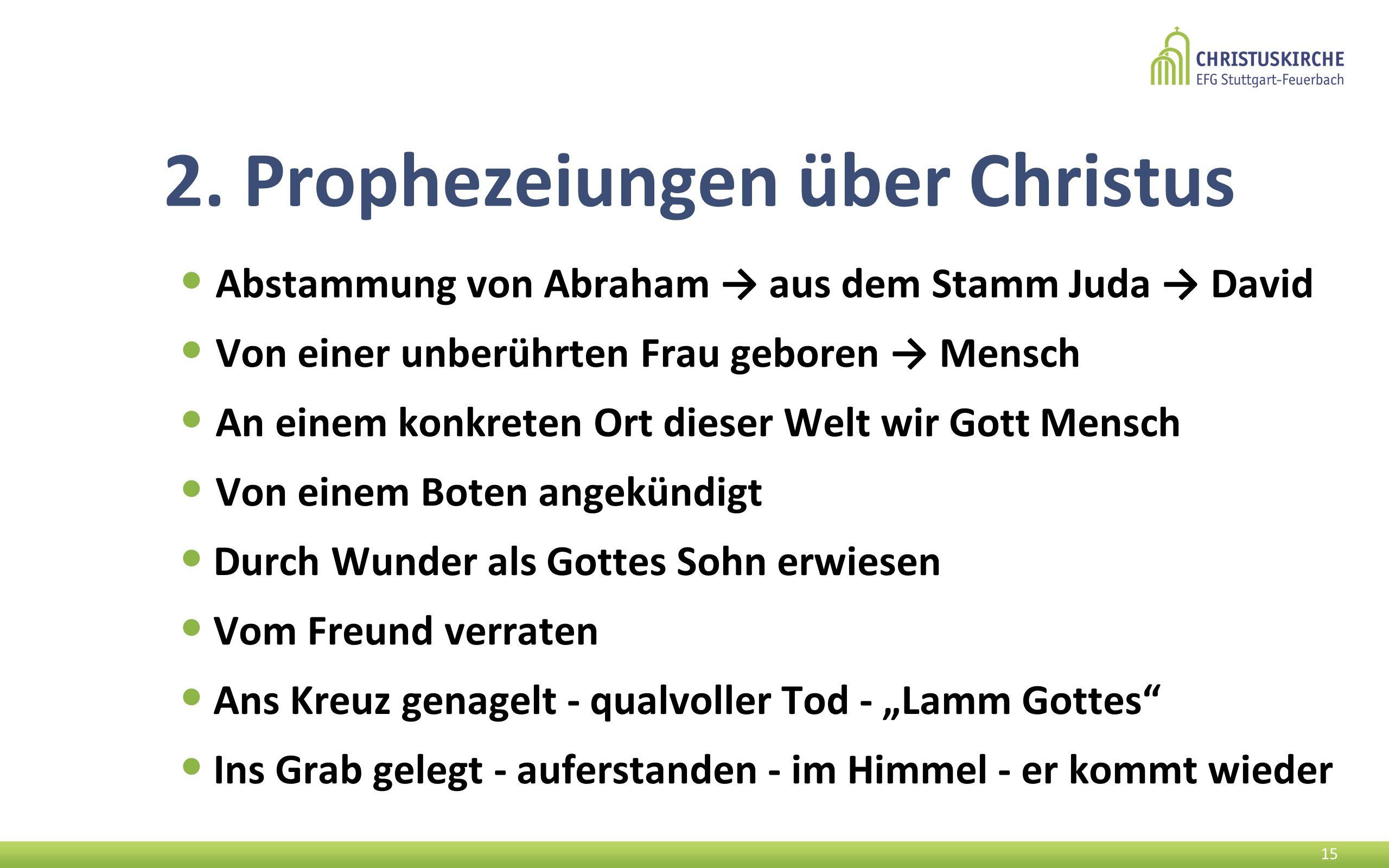 2. Prophezeiungen über Christus