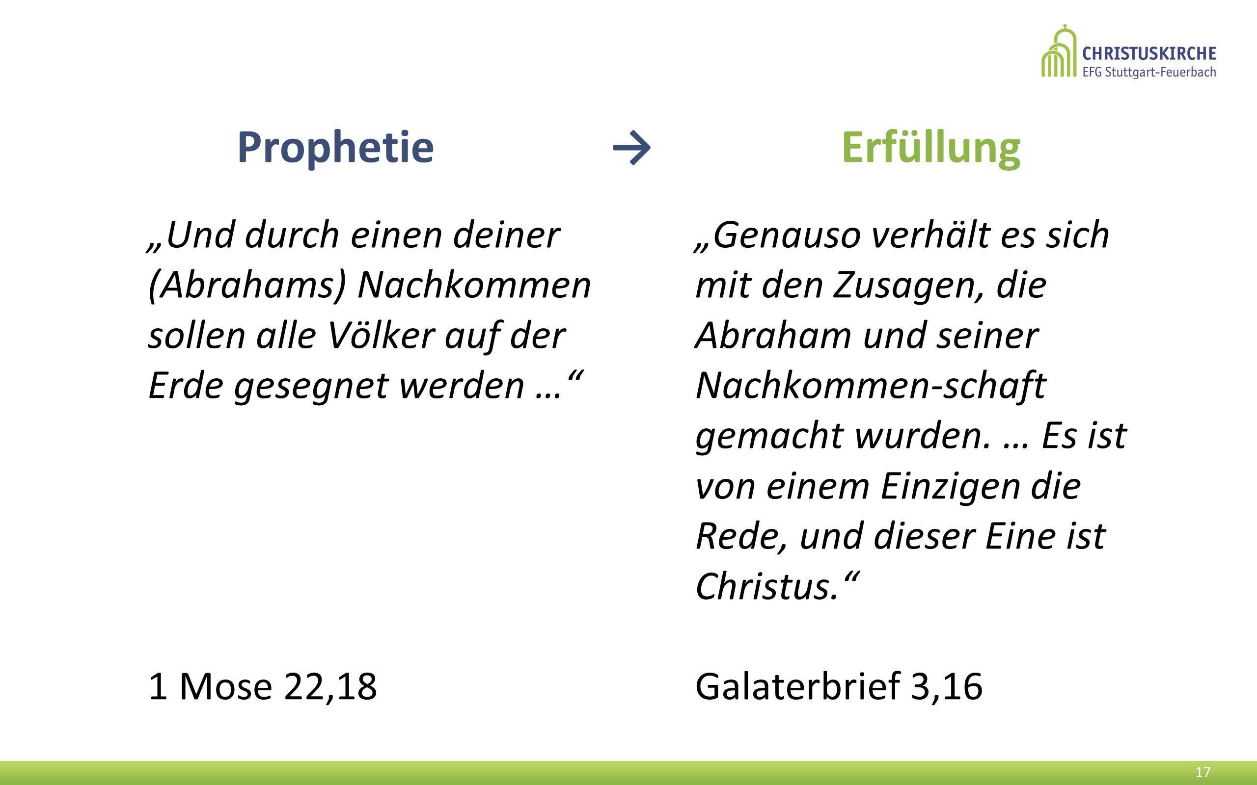 """Prophetie → Erfüllung """"Und durch einen deiner (Abrahams) Nachkommen sollen alle Völker auf der Erde gesegnet werden …"""