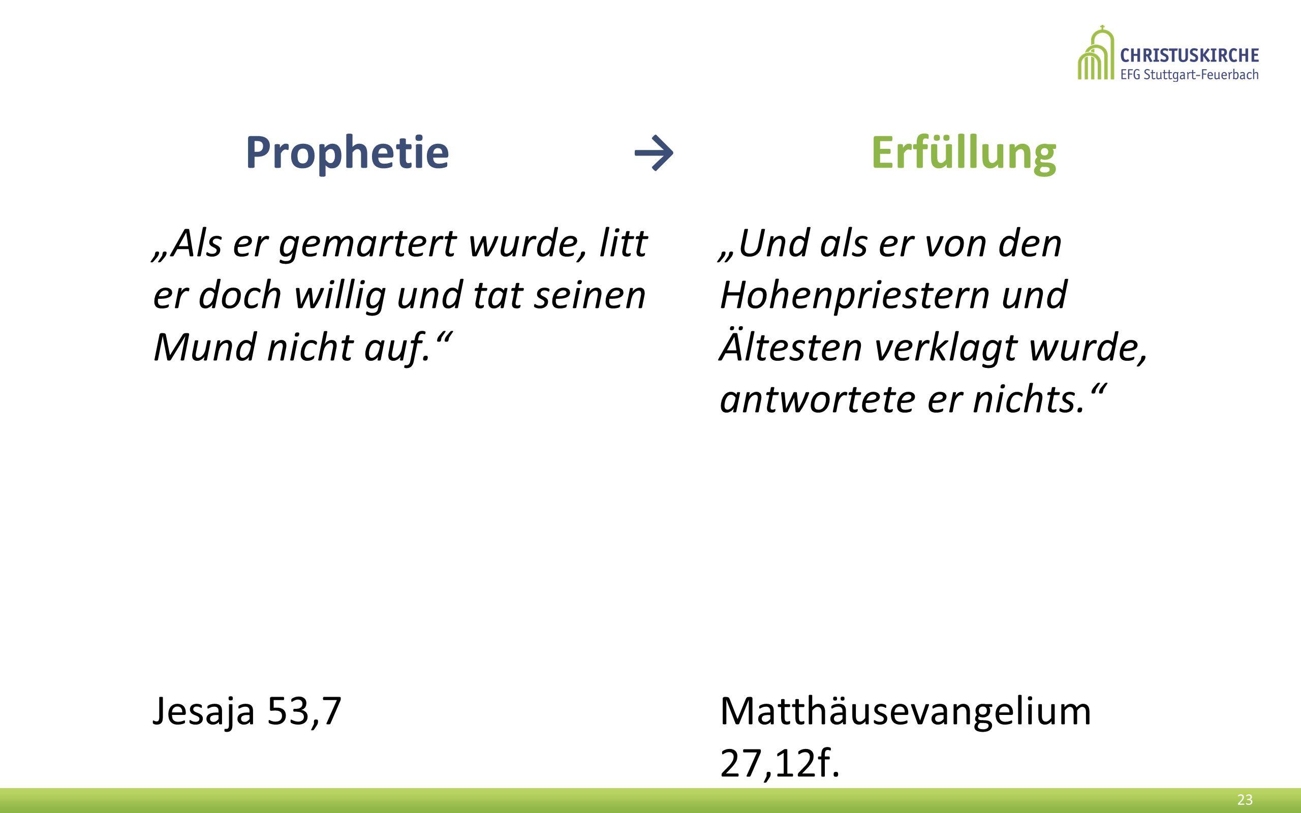 """Prophetie → Erfüllung """"Als er gemartert wurde, litt er doch willig und tat seinen Mund nicht auf."""