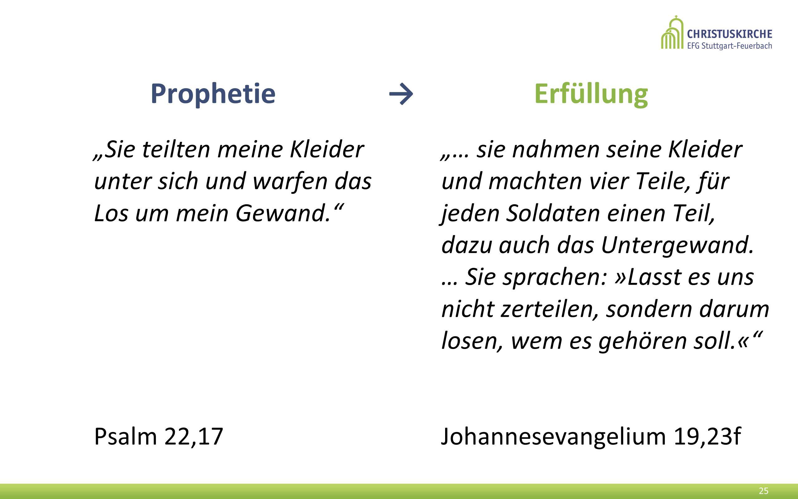 """Prophetie → Erfüllung """"Sie teilten meine Kleider unter sich und warfen das Los um mein Gewand."""