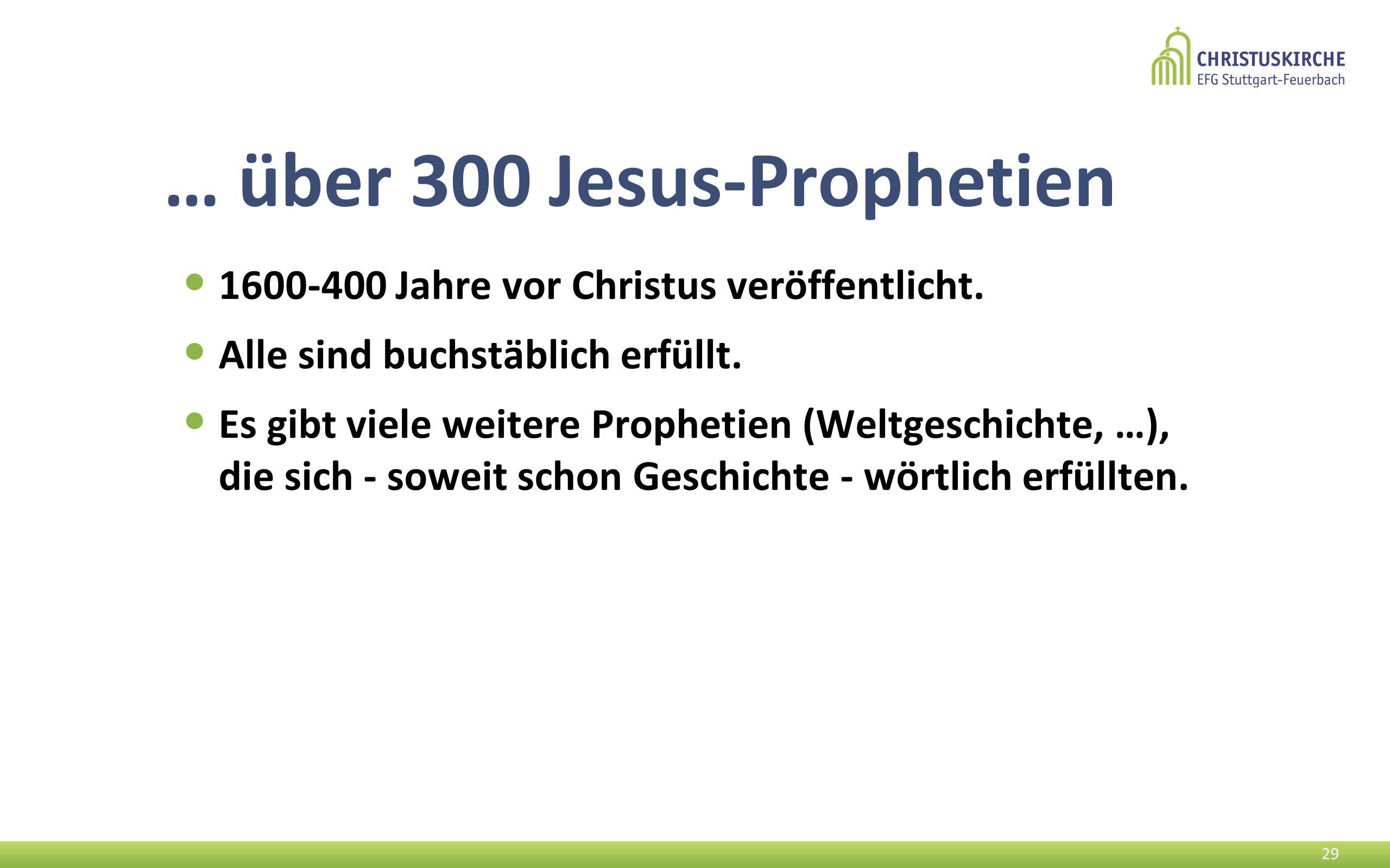 … über 300 Jesus-Prophetien